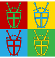 Pop art shield and swords icons vector image