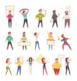protesting people decorative icons set vector image