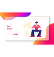 relaxing business lunch time website landing page vector image vector image
