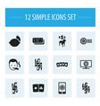 set of 12 editable casino icons includes symbols vector image vector image