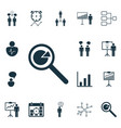 set of 16 executive icons includes co-working vector image vector image