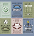 soccer and football sport retro grunge posters vector image vector image