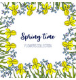 spring flowers iris and forget-me-not frame vector image vector image
