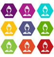 stewardess icon set color hexahedron vector image