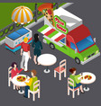 street food isometric composition vector image vector image