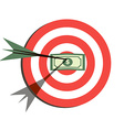 Target Flat Icon Design Aim with Money in the vector image