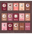 Templates with different kinds of dessert vector image vector image