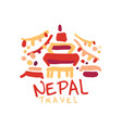 travel to nepal logo with traditional temple vector image vector image