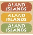 Vintage Aland Islands stamp set vector image