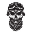 vintage bearded skull biker concept vector image