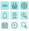 web icons set with magnifier almanac check in vector image vector image