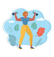 woman with dumbbells vector image vector image