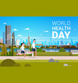 world health day background with man and woman vector image