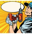 Male master repairman with a drill vector image