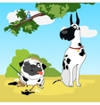 Two funny dogs in disguise Dalmatians vector image