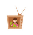 adorable smiling girl sitting in tv made of vector image vector image