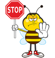Angry Traffic Wardon Bumble Bee Cartoon vector image vector image