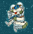 astronauts man and woman hugging sexy passionate vector image