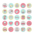 big circle web icon set baby toy feed and care vector image vector image
