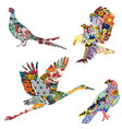 birds with ethnic ornaments vector image