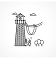 Black icon for rope jumping tower vector image vector image