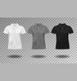 black white and gray realistic slim male polo t vector image vector image