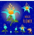 Blue glowing magic flowers stages of flowering vector image vector image