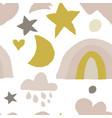 boho nursery seamless pattern with hand drawn flat vector image