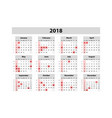 calendar for 2018 year design print template week vector image vector image