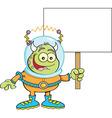 Cartoon alien hodling a sign vector image vector image