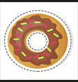 chocolate sweet doughnut patch in flat design vector image vector image