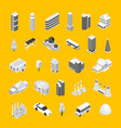 city map concept icons 3d isometric view vector image
