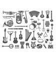 collection of musical instruments icons vector image vector image