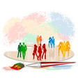 colorful silhouettes of people vector image vector image