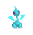 cute cartoon light blue baby dragon with wings vector image vector image