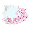 cute unicorn and fairy vector image