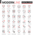 dental care medicine flat thin red black line vector image vector image