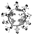 doodle kids around earth vector image vector image