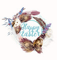 easter wreath with feathers and florals for design vector image vector image