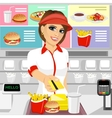 female fast food restaurant employee vector image vector image