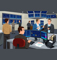 financial stock trader working in a trading room vector image