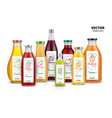 fresh juice realistic glass canned bottle set vector image