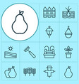 gardening icons set with scarecrow farm field vector image