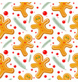 gingerbread man seamless pattern cute vector image vector image