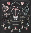 Hand Drawn Chalk Romantic Elements Set
