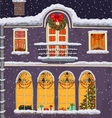 hand-drawn christmas background with windows vector image