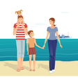 Happy family on the beach vector image vector image