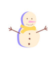 happy snowman flat abstract element vector image