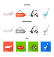 isolated object of airport and airplane icon set vector image vector image