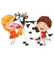 kids with cow vector image vector image